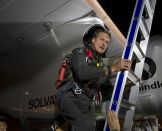 Mission 2012 – Flight to Ouarzazate – First Attempt – André Borschberg in the cockpit after landing in Rabat-Salé airport © Solar Impulse |Jean Revillard