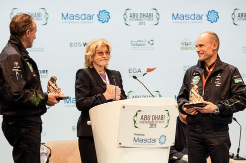 André Borschberg and Bertrand Piccard receive the Chromy Award 2015