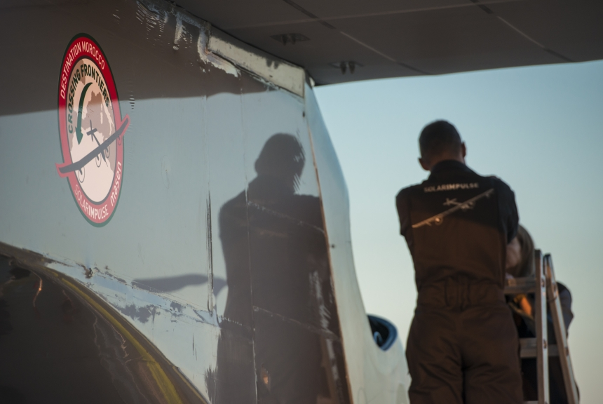 The Mission begins! HB-SIA is getting out the hangar for it's first leg Payerne-Madrid © Solar Impulse | F. Merz
