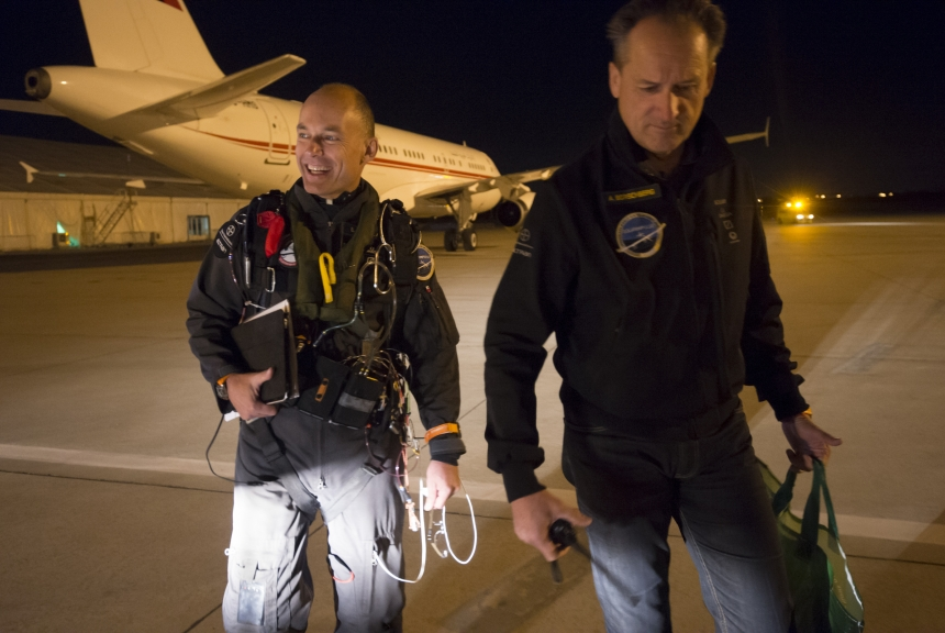 Mission 2012 –  Rabat to Madrid – Bertrand Piccard in the cockpit before take-off © Solar Impulse | Jean Revillard